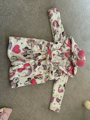 Girls Minnie Mouse Hooded Fleece Dressing Gown 3-4 Years Pink White Disney