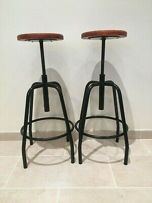 2 X Vintage Retro Industrial Adjustable Metal & Wood Stool *