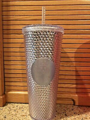 Starbucks 2019 Venti Holiday Bling Platinum Silver Studded Cold Cup Tumbler