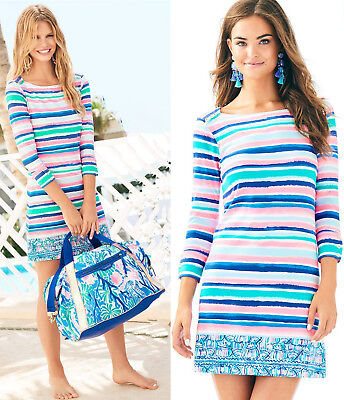 Lilly Pulitzer Sophie Sandy Shell Stripe Engineered Print UPF 50 Tunic Dress