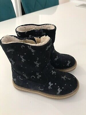 Next Size 6 Toddler Kids Navy Unicorn Ankle Boots