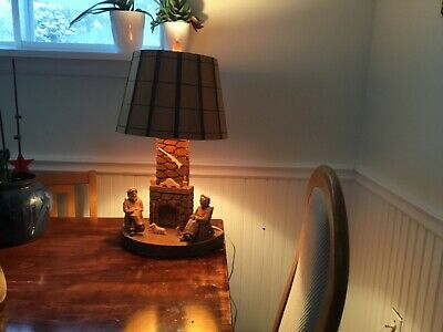 Quebec Folk Art ,Berthier b wood carved lamp, AWESOME,St.Jean Port-Joll