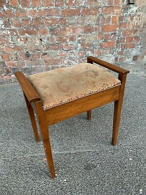 Mid-Century Vintage Piano Stool With Storage - Bedroom Dressing Table Stool