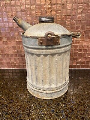 Antique Gas Oil Kerosene Galvanized Metal Can with Wooded Handle And Spout