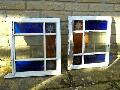 Victorian coloured glass sash window red/blue/yellow