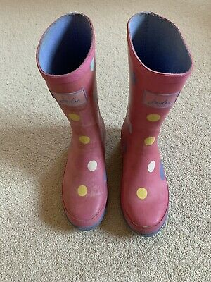 Girls Pink Spotty Joules Wellies size 3