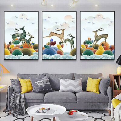 Deer and Birds Canvas Poster Wall Hangings Home Living Room Art Decor Unframed