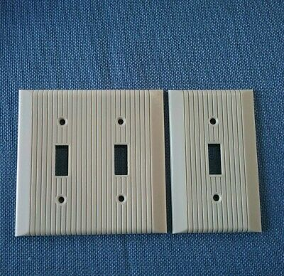 Vtg 2 General Electric Switch Plate Covers Bakelite Ivory Art Deco Ribbed