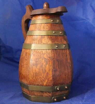 Large Antique American Oak Wood Beer Stein Barrel Form w/Brass Hoops c.1900