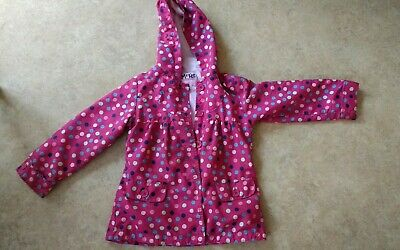 Girls CHEROKEE Pink Spotted Lined Hooded Coat/Jacket Spring Age 5-6 Years marks