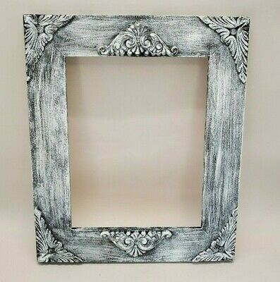 Handmade Ornate Wood Picture Frame, Vintage, Distressed, White & Black