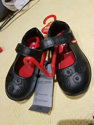 £18 NEW Tags Girls Size 8 TU Sainsbury's Black Leather School Shoes Cute Cats