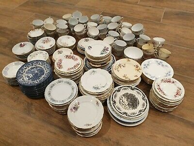 Job Lot Assorted Mismatched Vintage Crockery China Tea Set - 285 pieces approx