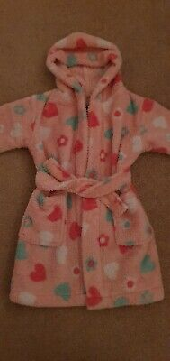 Baby girls pink heart soft dressing gown George age 12-18 months 1 -1.5 years