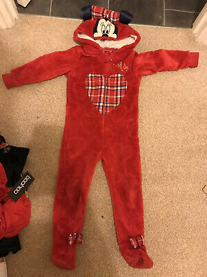 Girls Disney Minnie Mouse Red Tartan All In One 18-24