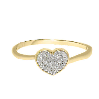 Valentine's Special 10k Yellow Gold .06 Ct Real Genuine Diamond Heart Ring New