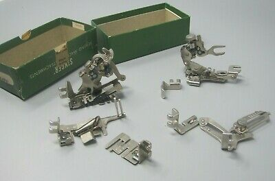 Lot of 7 Vintage Singer Sewing Machine Attachments in Original Singer Box