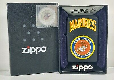 Zippo US Marines Lighter - #218539-  Matte Black NEW WITH BOX