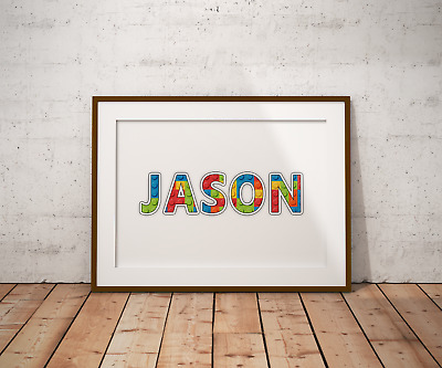 Personalised Lego Name Wall Art Print Poster Ideal Gift A4 Boys Girls Room