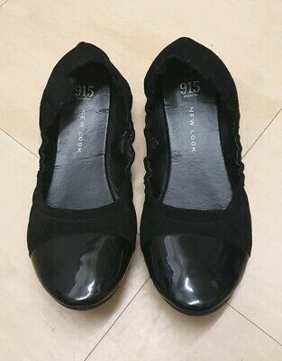 Girls NEW LOOK 915 Generation Black Slip On Flat Shoes Size UK 6
