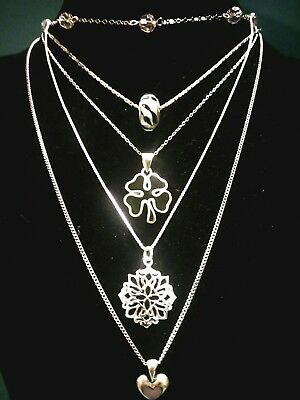 Vintage To Now Sterling Silver 5 Chains With Pendants Lot
