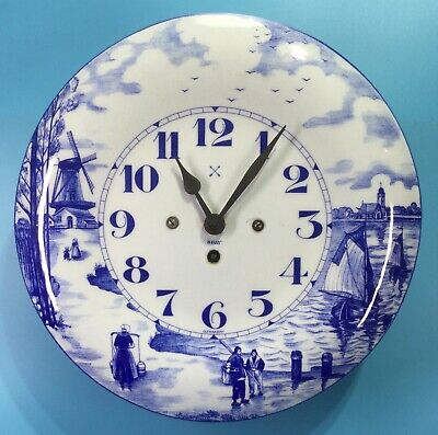 Junghans Delft Style Porcelain Tin Metal Enamel 8 Day Wall Clock
