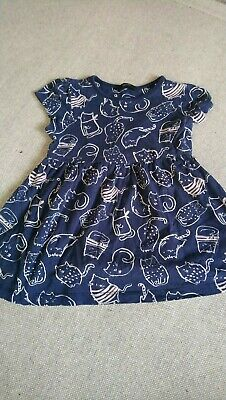 Girls George blue cat dress top 4-5 years good condition smoke pet free home