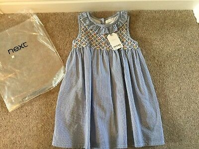 Next Girls Blue And White Dress, Age 4-5 Years - Brand New In Bag