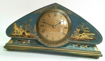 Edwardian 8 Day Teal Chinoiserie Mantel Clock...................ref.2095