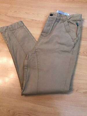 Gorgeous Designer TED BAKER Trousers Slim Cut Age 12 W30 L25.5 Beige Button Fly
