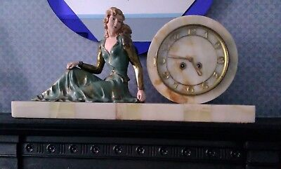 Art deco: 1930's stunning rare marble base mantel piece clock with lady figure