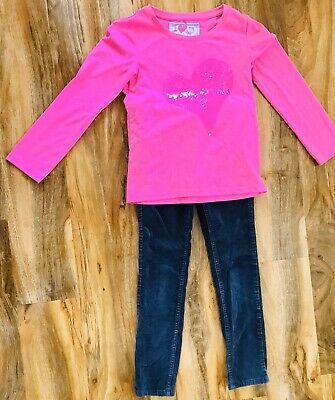 Gorgeous Next Pink Sequin Heart Top & Grey Cord Jeans Outfit Age 6-7 Years