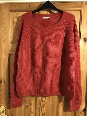 TU Ladies Pretty Pink/Red Ribbed Knit Bow Detail Jumper Size 16