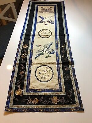 Good Quality Antique c19th Chinese Silk Gold Sleeve Embroidery 80x27cm
