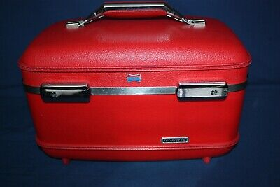 American Tourister Vintage Red Train Case Luggage Baggage Quited Interior w/ Key