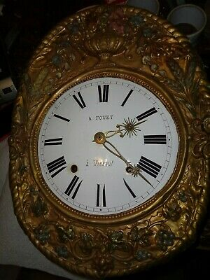 Antique-French-Morbier Clock Movement-Ca.1870-To Restore-Crown Wheel-#K327