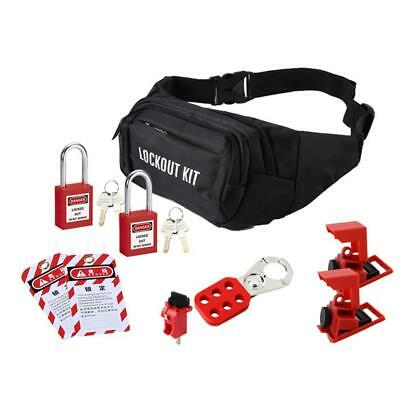 Pack of 1 Mini Padlock Lockout Set Circuit Breaker with Bag Steel Red Safe