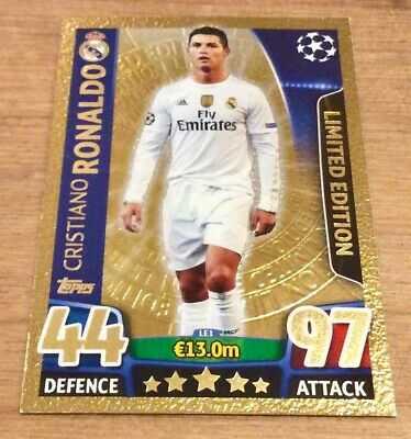 Topps Match Attax UEFA Champions League Cristiano Ronaldo Gold Limited Edition