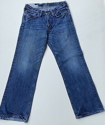 "Boys 14 Abercrombie Blue Jeans Pants Kilburn Low Rise Boot 28"" Inseam Distressed"