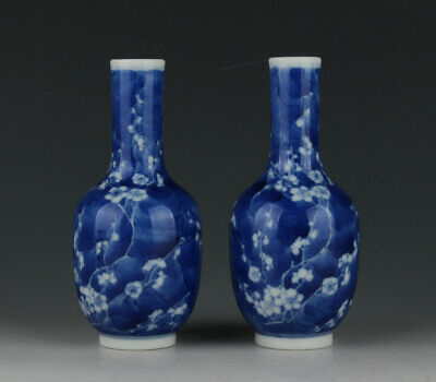 One Pair Chinese Antique Blue And White Porcelain Vase Bottle