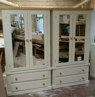 Handmade X2 Aylesbury Double Mirrored Ivory And Antique Pine Country Wardrobes