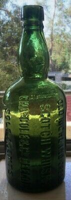 Green Geelong Scotch Whisky Bottle Chas Cole & Co Old Highland Cream Victoria