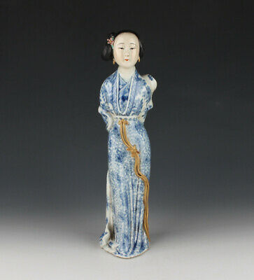 Chinese Antique Blue And White Porcelain Gilt Figure Statue