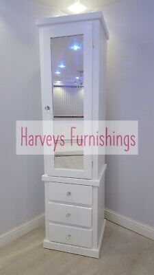 Handmade Cumbria White Single Slim 1 Door 3 Drawer Mirrored Wardrobe Assembled