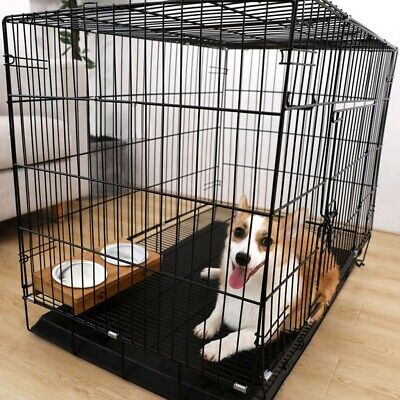 2 Door Pet Cage Folding Dog w/Divider Cat Metal Crate Cage Kennel w/Tray BlackDN