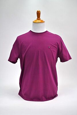 Tommy Hilfiger T-Shirt Mens Crew Neck Tee Classic Fit Short Sleeve Solid Purple