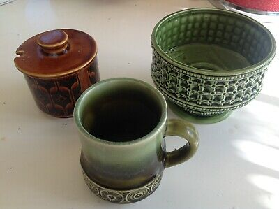 Vintage 1970s Retro Sugar Bowl, Bowl And Jug Hornsea Brady Japanese