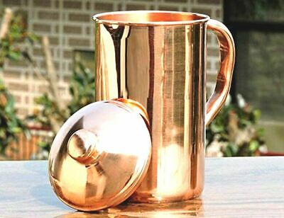 Pure Copper Water 1 Pitcher jug Set For Drinking Water Indian Ayurveda Free Shp