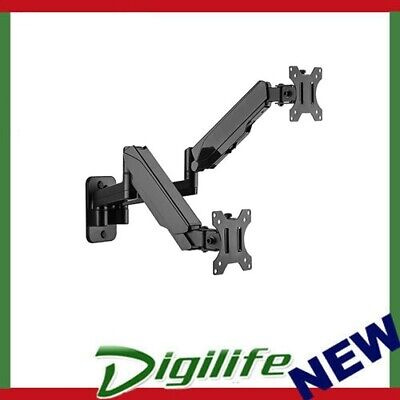Brateck Dual Monitor Wall Mounted Gas Spring Monitor Arm