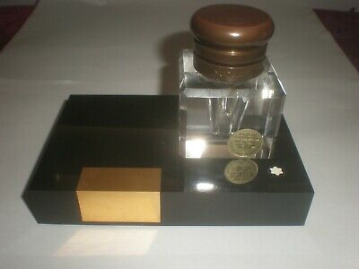 Montblanc W Germany Hand Cut Lead Crystal Ink Well with Brass Lid on Stand